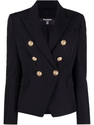 Black grain de poudre double-breasted jacket