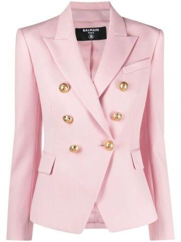 Pale pink grain de poudre double-breasted jacket