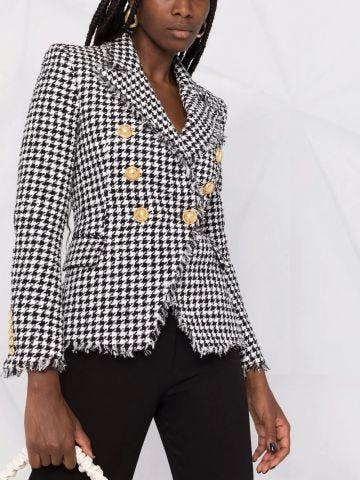 White and black houndstooth print tweed jacket