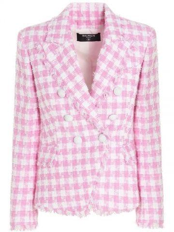 Pink houndstooth blazer