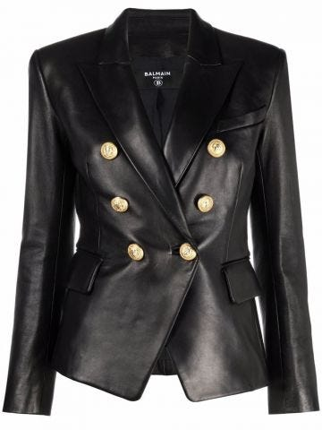 Black double-breasted leather blazer