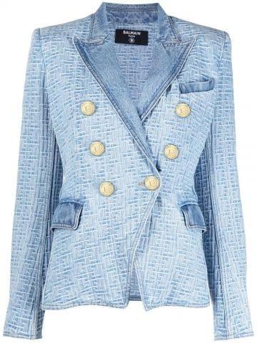 Light blue jean jacket with Balmain monogram