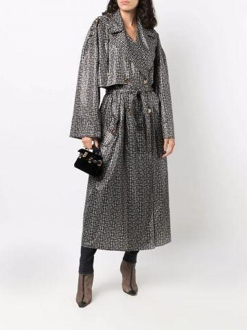 Ivory and black Balmain print monogram trench coat