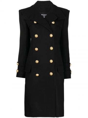 Long black wool and cashmere coat with double-breasted gold-tone buttoned fastening
