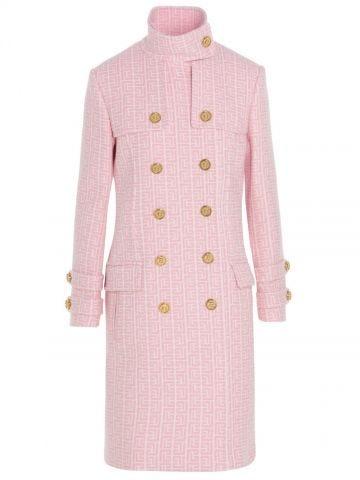Pink virgin wool double breast coat with Balmain monogram
