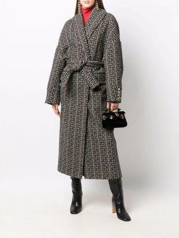 Ivory and black Balmain print monogram wool coat
