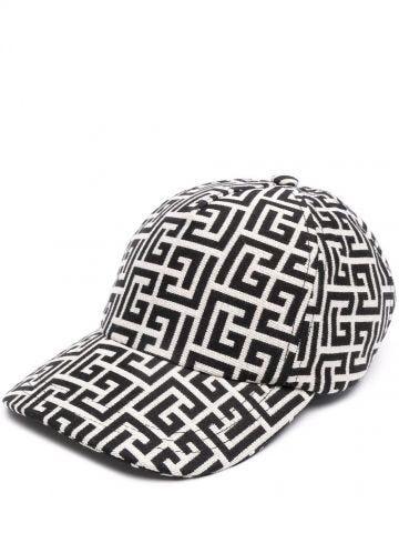 Ivory and black cotton cap with Balmain monogram
