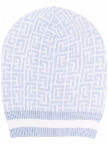 Pale blue and white wool beanie with Balmain monogram