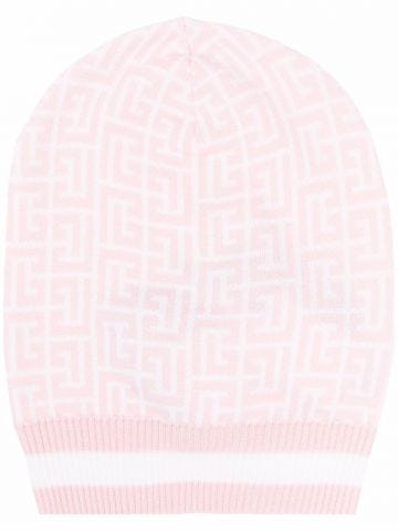Pale pink and white wool beanie with Balmain monogram