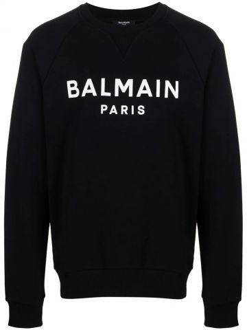 Felpa nera in cotone con logo Balmain Paris bianco