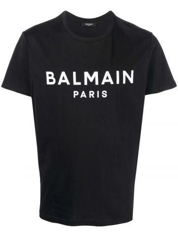 Black cotton T-shirt with white Balmain Paris logo print