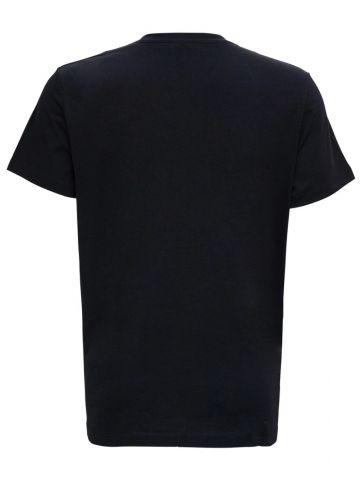 Black cotton T-shirt with gold Balmain Paris logo print