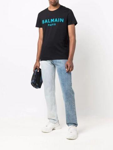 Black cotton T-shirt with blue Balmain Paris logo print