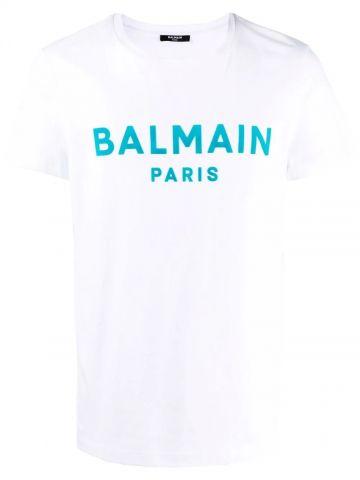 White cotton T-shirt with blue Balmain Paris logo print