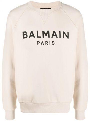 Beige cotton sweatshirt with black Balmain Paris logo print