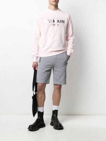Pink cotton sweatshirt with silver Balmain Paris logo print