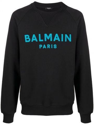 Black cotton sweatshirt with blue Balmain Paris logo print