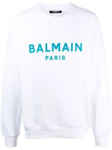 White cotton sweatshirt with Balmain Paris logo print