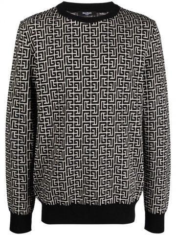 Bicolour ivory and black monogram sweater
