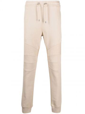 Beige cotton sweatpants with black Balmain Paris logo