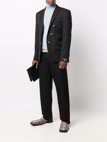 Black single-breasted blazer with embossed buttons