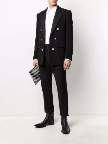 Black crepe blazer with double-breasted silver-tone buttoned fastening and Balmain monogram collar