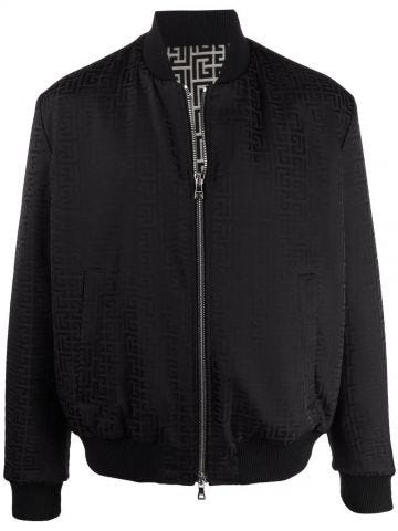 Ivory and black reversible cotton bomber jacket with Balmain monogram