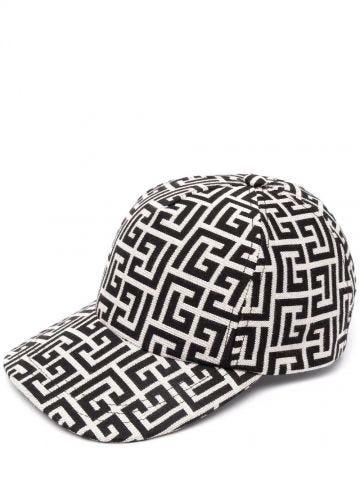Ivory and black cap with Balmain monogram pattern