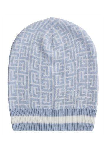 Blue and white wool beanie with Balmain monogram