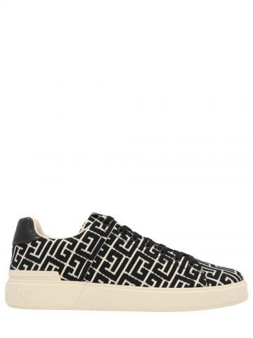 Ivory and black monogram jacquard B-Court sneakers
