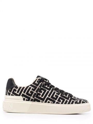 Sneakers B-Court avorio e nero jacquard