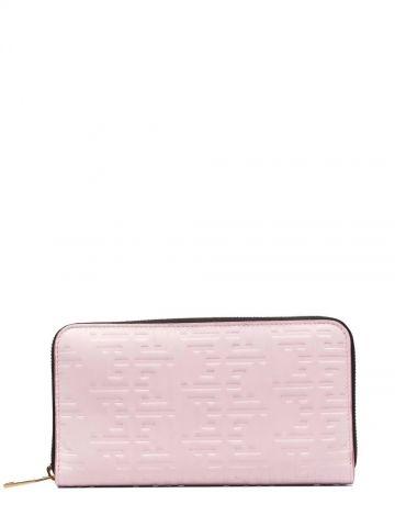 Pink debossed-monogram leather wallet