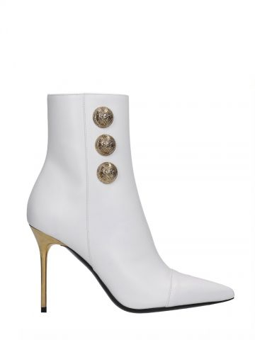 Roni white leather ankle boots