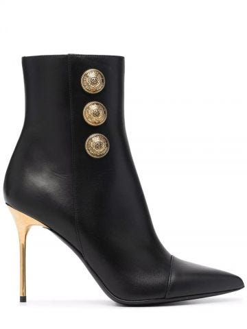 Roni black leather ankle boots