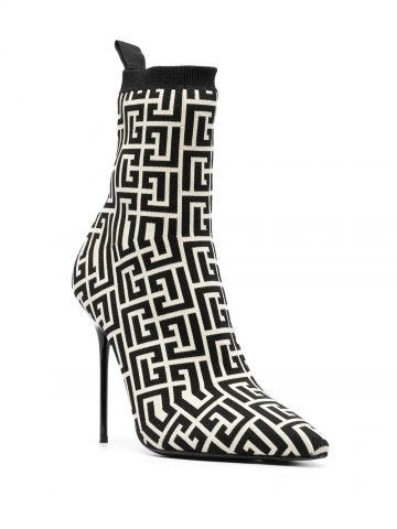 Bicolor stretch knit Skye ankle boots with Balmain monogram