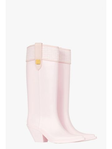 Pink rubber Tess boots