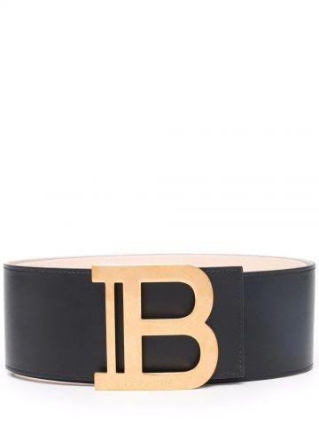 Black leather B-Belt belt