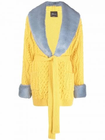 Yellow tied-waist cable knit coat
