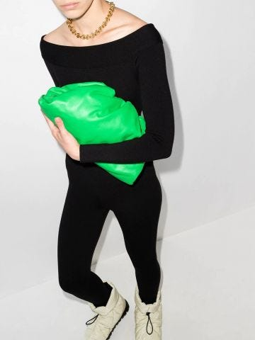 Green The Pouch clutch
