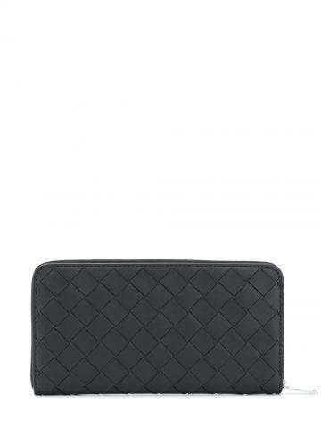 Black zip around Intrecciato leather wallet