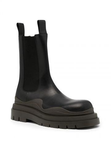 Black slip sole Tire boots