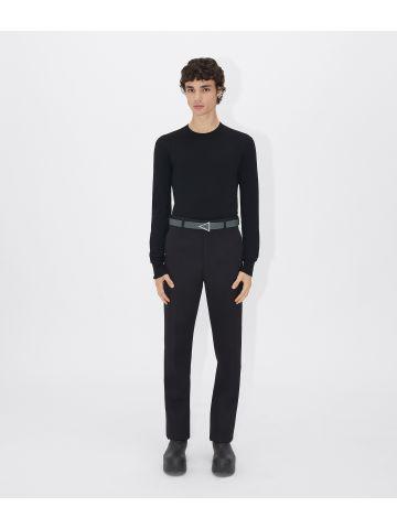 Grey triangle leather belt
