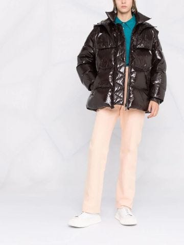 Brown hooded padded coat