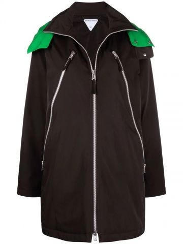 Brown technical stretch nylon hooded parka