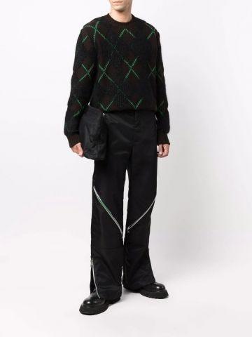 Black plaid sweater