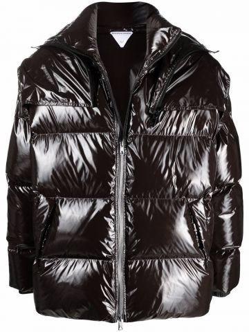 Dark brown padded zip-up coat