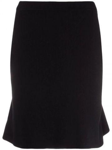 Black fine knit mini skirt
