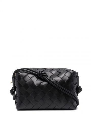 Black Loop Intrecciato leather cross-body mini bag