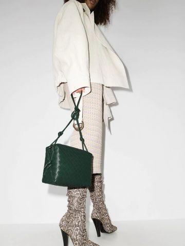 Small green intrecciato leather Loop cross-body bag