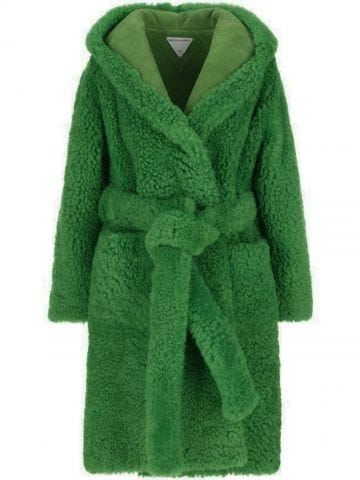 Green shearling belted hooded coat